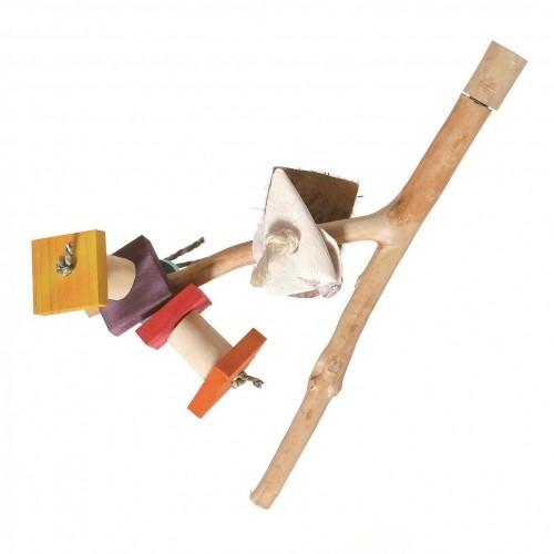 Accessoires pour cages - Double perchoir avec jouets pour oiseaux