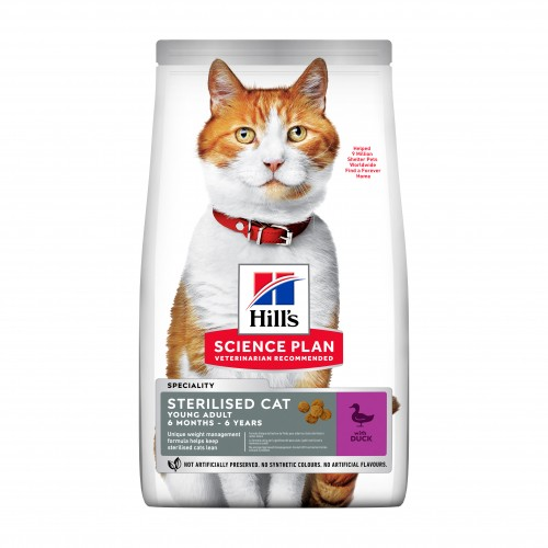 Alimentation pour chat - HILL'S Science Plan Sterilised Cat Young Adult - Canard pour chats