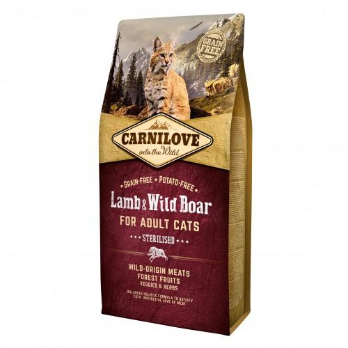 Alimentation pour chat - CARNILOVE Adult Sterilised Agneau & sanglier sauvage pour chats