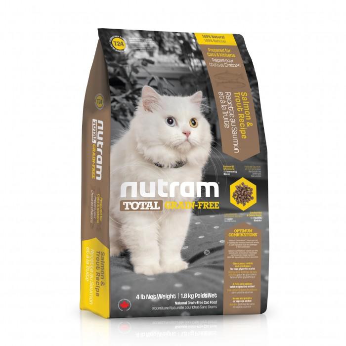 t24 nutram total croquettes pour chat grain free saumon truite wanimo. Black Bedroom Furniture Sets. Home Design Ideas