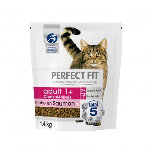 Alimentation pour chat - PERFECT FIT Adult 1+ chats stérilisés Saumon pour chats