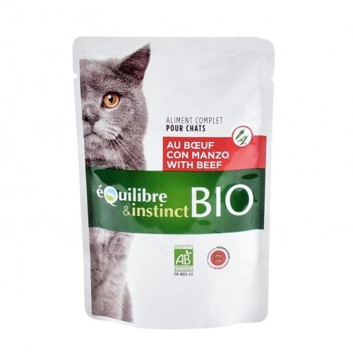 Alimentation pour chat - EQUILIBRE & INSTINCT Adult Mitonné Bio - Lot 22 x 100 g pour chats