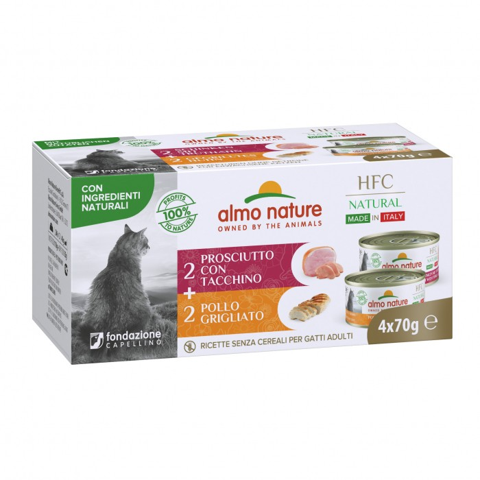 Alimentation pour chat - Almo Nature HFC Natural Made in Italy Grain Free - Lot 4 x 70 g pour chats