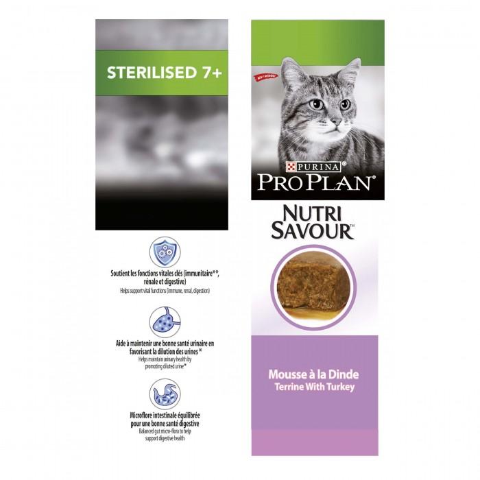 Alimentation pour chat - Proplan Nutrisavour Sterilised 7+ Longevis en mousse pour chats