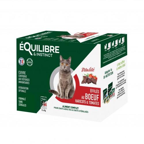 Alimentation pour chat - EQUILIBRE & INSTINCT Adulte Stérilisé Effilés Vitalité - Lot 12 x 85 g pour chats