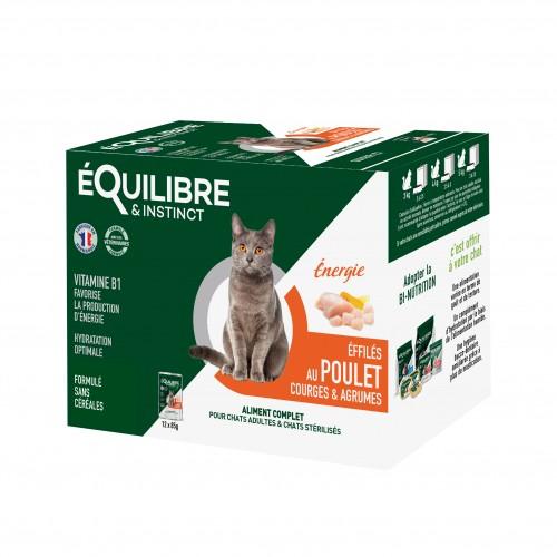 Alimentation pour chat - EQUILIBRE & INSTINCT Adulte Stérilisé Effilés Énergie - Lot 12 x 85 g pour chats