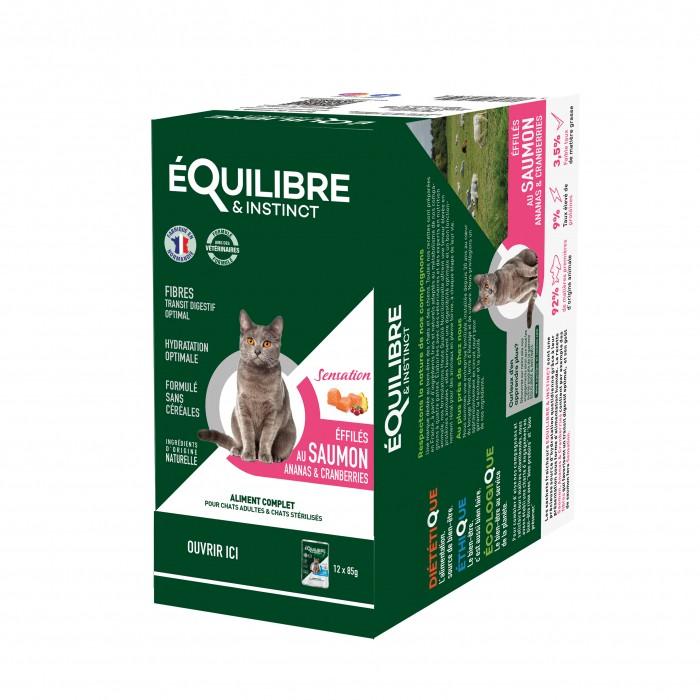 Alimentation pour chat - EQUILIBRE & INSTINCT Adulte Stérilisé Effilés Sensation - Lot 12 x 85 g pour chats