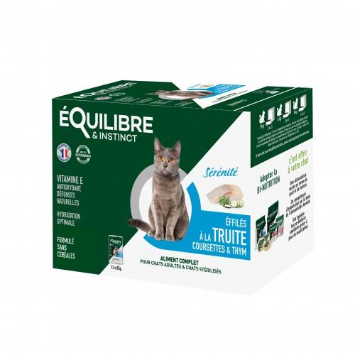 Alimentation pour chat - EQUILIBRE & INSTINCT Adulte Stérilisé Effilés Sérénité - Lot 12 x 85 g pour chats