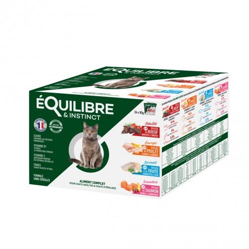 Alimentation pour chat - EQUILIBRE & INSTINCT Adulte Stérilisé Effilés Multipack - Lot 12 x 85 g pour chats