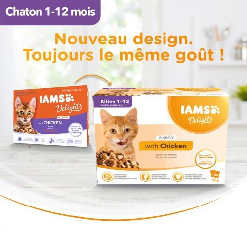Alimentation pour chat - IAMS Delights Kitten - Lot 12 x 85 g pour chats