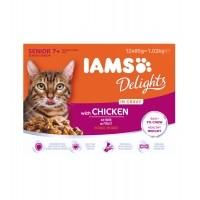 Sachet fraîcheur pour chat - IAMS Delights Senior - Lot 12 x 85 g