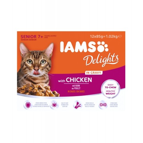 Alimentation pour chat - IAMS Delights Senior - Lot 12 x 85 g pour chats