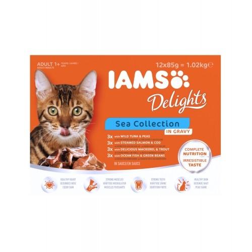 Alimentation pour chat - IAMS Delights Adult - Lot 12 x 85 g pour chats