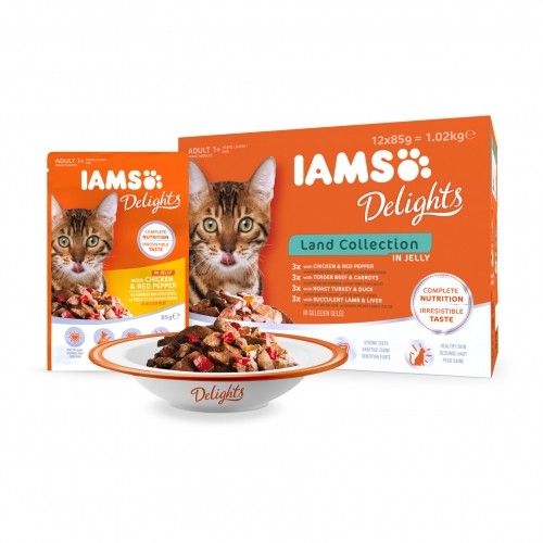 Alimentation pour chat - IAMS Delights Adult - Lot 12 x 85 g pour chats