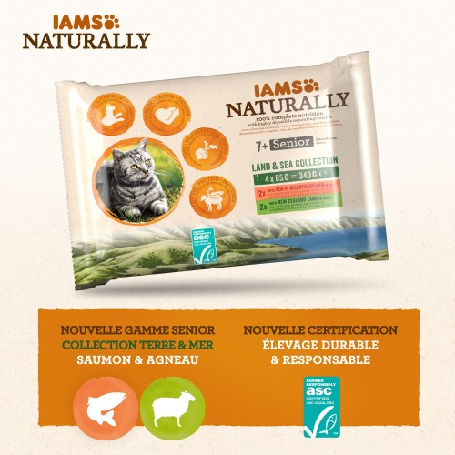 Alimentation pour chat - IAMS Naturally Saveurs Terre & Mer - Multipack senior pour chats