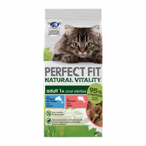 Alimentation pour chat - PERFECT FIT™ Natural Vitality Adult 1+ chats stérilisés saumon et poisson pour chats