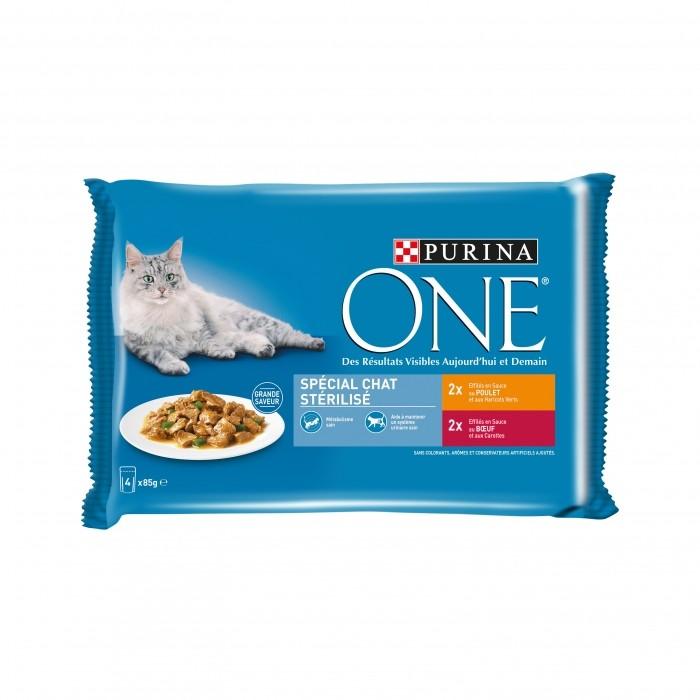 Alimentation pour chat - PURINA ONE Chat stérilisé - 4 x 85g pour chats