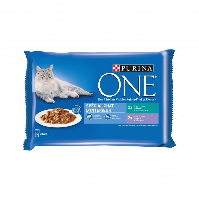 Alimentation pour chat - PURINA ONE Chat d'intérieur - 4 x 85g pour chats