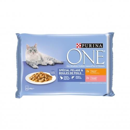 Alimentation pour chat - PURINA ONE Spécial Pelage et Boules de Poils - 4 x 85g pour chats