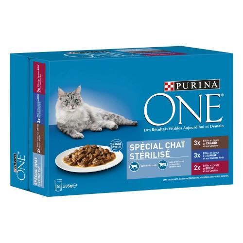 Alimentation pour chat - PURINA ONE Chat Stérilisé - 8 x 85g pour chats
