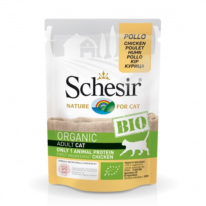 Alimentation pour chat - Schesir BIO Adult - Lot 16 x 85g pour chats