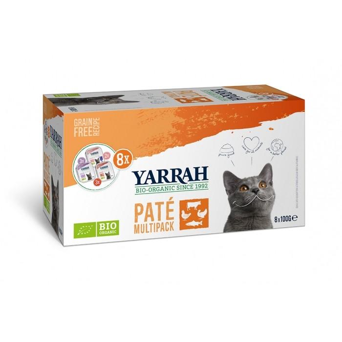 Alimentation pour chat - Yarrah Multi Pack biologique 3 saveurs  - Lot de 8 x 100g pour chats