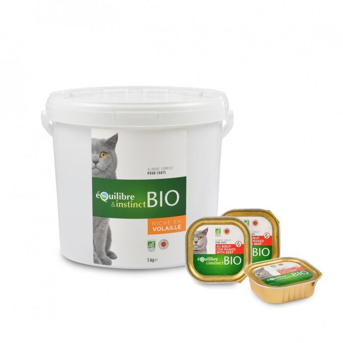Alimentation pour chat - EQUILIBRE & INSTINCT Pâtée Bio Adult - Lot 16 x 100 g pour chats