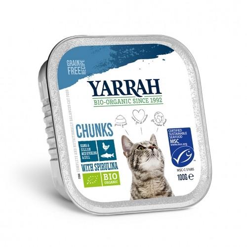 Alimentation pour chat - Yarrah Bouchées biologiques sans céréales - Lot de 16 x 100g pour chats