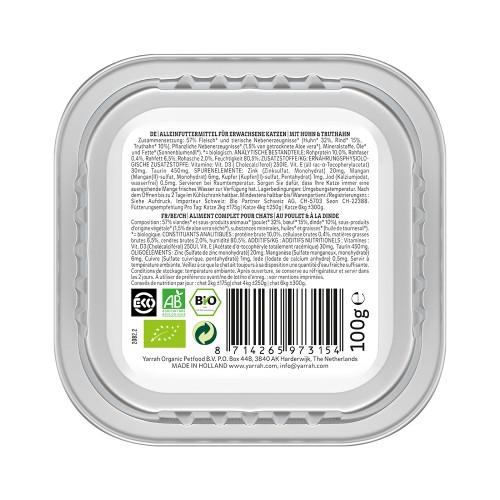 Alimentation pour chat - Yarrah Pâtée biologique sans céréales - Lot de 16 x 100g pour chats