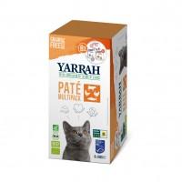 Pâtée en barquette pour chat - Yarrah Multi Pack biologique 3 saveurs  - Lot de 8 x 100g