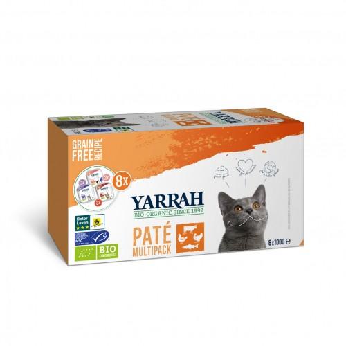 Pâtée en barquette pour chat - Yarrah Pâtée Grain Free Bio 3 saveurs  - Lot de 8 x 100g