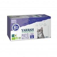 Pâtée en barquette pour chat - Yarrah Multi Pack biologique- Lot de 8 x 100g Multi Pack biologique - Lot de 8 x 100g