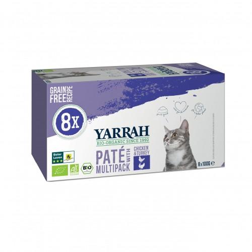 Alimentation pour chat - Yarrah Multi Pack biologique- Lot de 8 x 100g pour chats