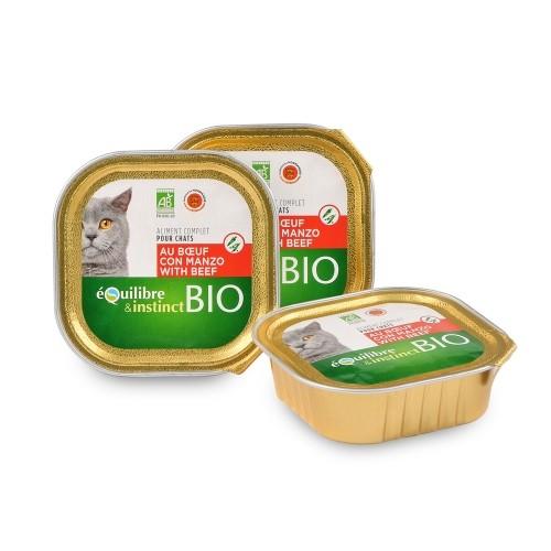 Pâtée en barquette pour chat Bio - EQUILIBRE & INSTINCT Pâtée Bio Adult - Lot 16 x 100 g