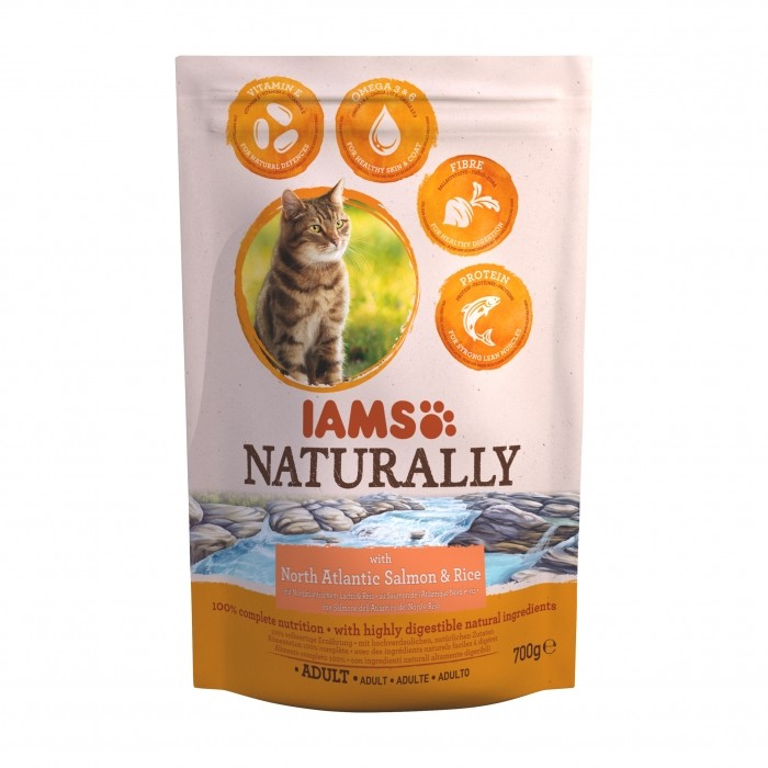 Alimentation pour chat - IAMS  Naturally Adulte - Saumon Atlantique Nord pour chats
