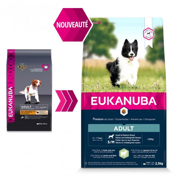 Alimentation pour chien - Eukanuba Adult Small & Medium Breed - Angeau et riz pour chiens