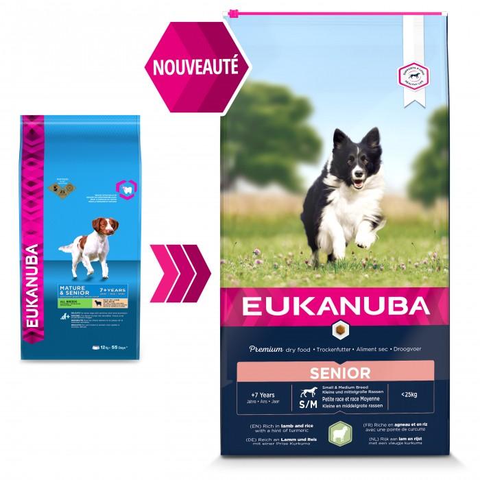 Alimentation pour chien - Eukanuba Senior Small & Medium Breed - Agneau & riz pour chiens