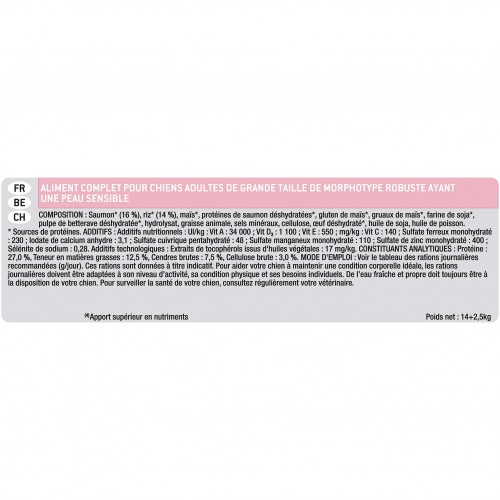 Alimentation pour chien - PURINA PROPLAN Large Adult Robust Sensitive Skin OptiDerma Saumon pour chiens