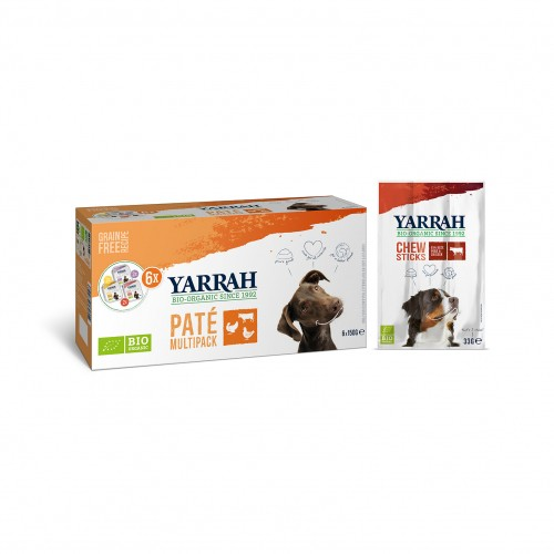 Alimentation pour chien - Yarrah Multi Pack biologique 3 saveurs - Lot de 6 x 150g pour chiens