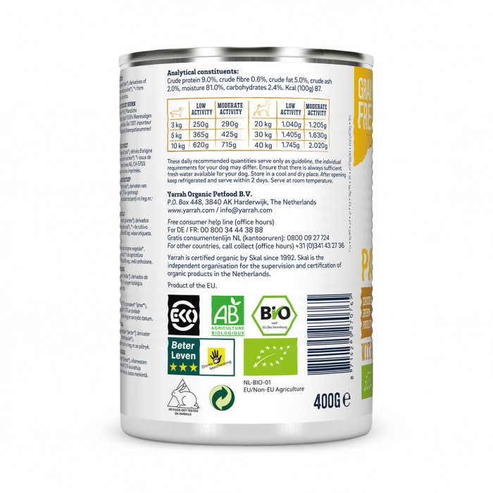 Alimentation pour chien - Yarrah Pâtée biologique au poulet - 12 x 400 g pour chiens