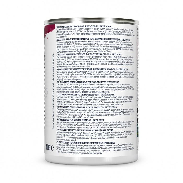 Alimentation pour chien - Yarrah Pâtée biologique au porc - 12 x 400 g pour chiens