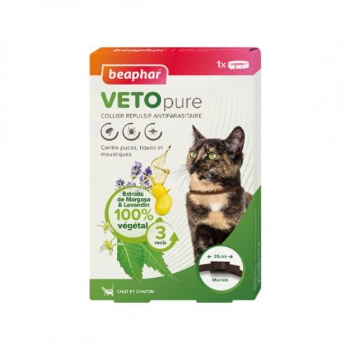 Anti puce chat, anti tique chat - Collier répulsif antiparasitaire Vetopure pour chats