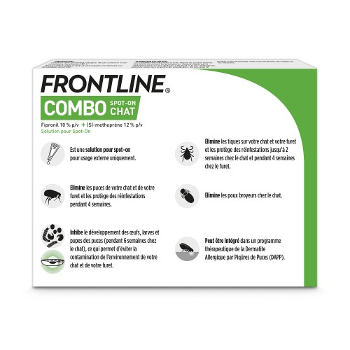 Anti puce chat, anti tique chat - Frontline Combo chat pour chats