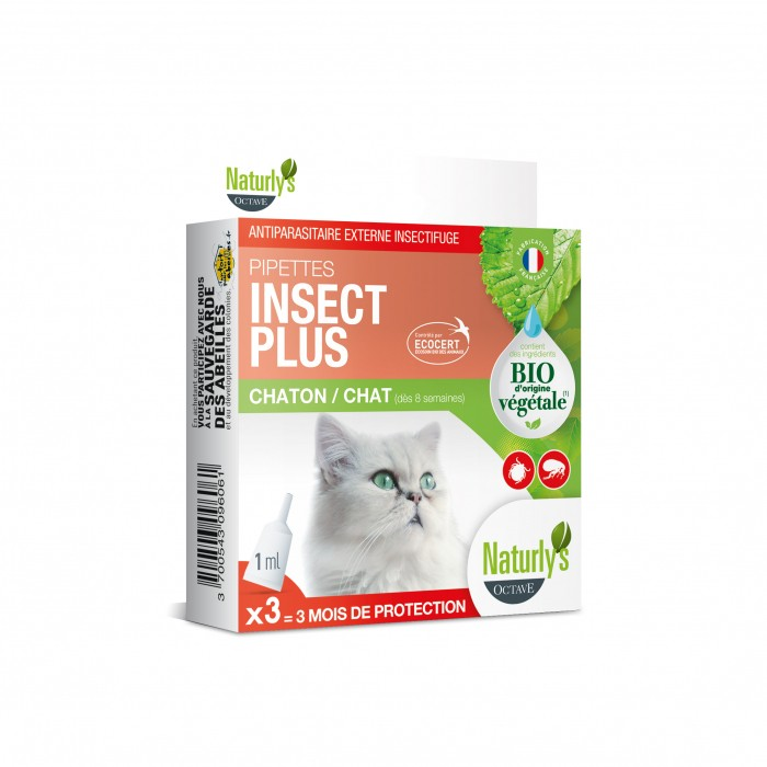 Anti puce chat, anti tique chat - Pipettes Insect Plus Bio pour chats