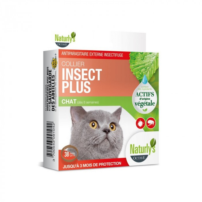 Anti puce chat, anti tique chat - Collier Insect Plus pour chat pour chats