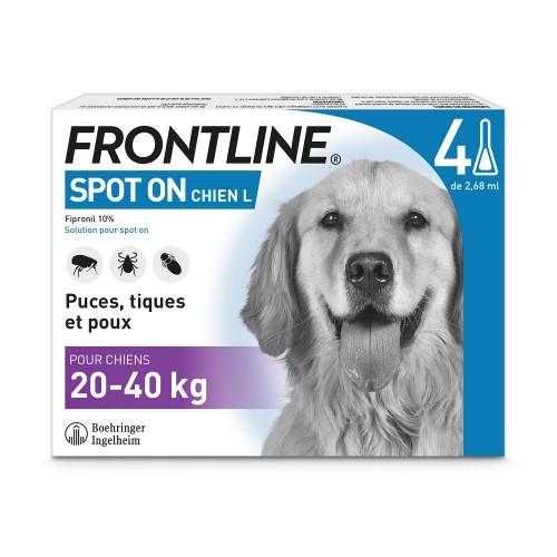 Anti puce chien, anti tique chien - Frontline Spot-On chien pour chiens
