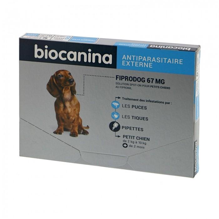 Anti puce chien, anti tique chien - Pipettes Fiprodog Spot-On   pour chiens