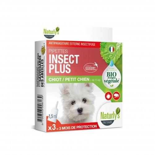 Anti puce chien, anti tique chien - Pipettes Insect Plus Bio pour chiens