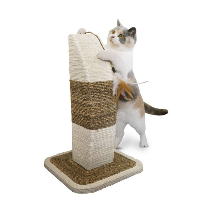 griffoir 100 sisal avec plumes griffoir pour chat jolly moggy wanimo. Black Bedroom Furniture Sets. Home Design Ideas