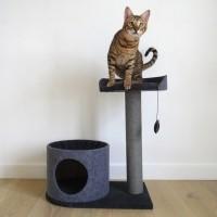 Arbre à chat - Arbre à chat Charcoal Felt Cat House Rosewood